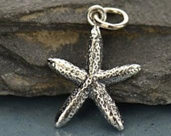 Skinny Starfish Charm Sterling Silver  - C1349, Nautical, Beach, Seashell, Sealife