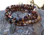 Feather Drop Charm - Stretch Stack Bracelets with Picture Jasper and Black Onyx - Tribal Hippie - Rustic Bohemian - Gypsy