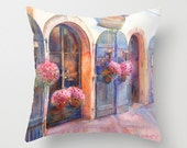 Prague Street Watercolor Throw Pillow Cover