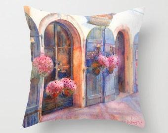 Prague Street Watercolor Throw Pillow Cover