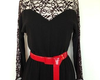 Black Long Sleeved Lace Classy Vintage Dress