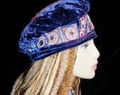 Hat Beret Asymmetrical Vintage Royal Blue Velvet Vintage Hmong Indian Embroidery Mirror Work Gypsy World Peace Hat