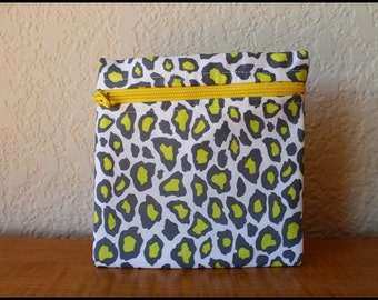 Gray and Lime Leopard Animal Print Change Purse with Canvas lining
