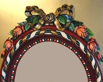 Mirror Vintage Hand Painted Roses Baroque Rococo