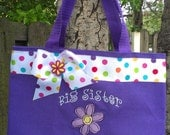 Big sister bag- Purple- purple flower- Personalized @ NO ADDITIONAL CHARGE