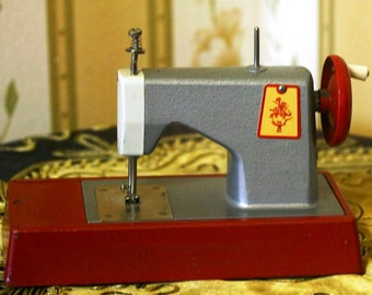 Soviet Toy Sewing Machine - Rare Metal - Manual - Red and Grey - 1980s - from Russia / Soviet Union / USSR
