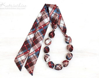 Fabric bead necklace brown blue, white and red PLAID