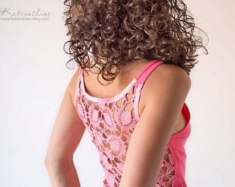 Neon pink Tank Top with upcycled vintage hand dyed crochet back - Size S