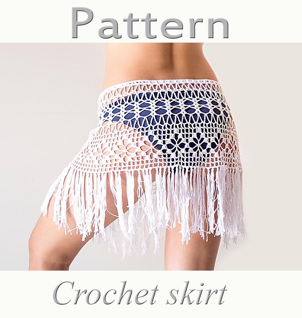 Free Download Crochet Skirt Pattern : Crochet beach fringed skirt PATTERN PDF crochet by katrinshine