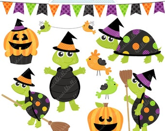 Halloween Witch Turtles Cute Digital Clipart - Commercial Use OK - Halloween Graphics, Halloween Clipart, Halloween Costumes
