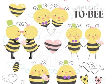 Meant 2 Bee Cute Digital Clipart for Commercial or Personal Use, Bee Wedding Clipart, Wedding Bee Graphics