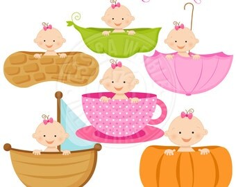 Girl Baby in A Cute Digital Clipart for Card Design, Scrapbooking, and Web Design, Peapod Baby, Pumpkin Baby