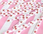 50 Twist Ties Paper - Pink Heart (0.15 x 4in)
