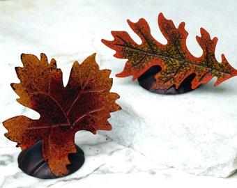 Set of 16 Maple Oak Leaf Place card Holders - Rustic Wedding Shabby Chic Wedding Decor Photo Prop