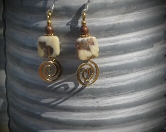 Gold and Cream Swirl Sterling Silver Dangle Earrings, Stone Gold Swirl Dangle Sterling Silver Earrings