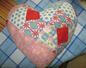 Vintage Quilt Pillow, Heart Shaped, Handmade