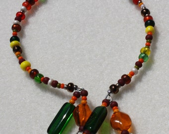 fall/Thanksgiving colors like indian corn with dangling flowers on memory wire great stocking stuffer