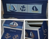 Nautical Inspired Sail Boat Whale and Anchor Toy Chest Only