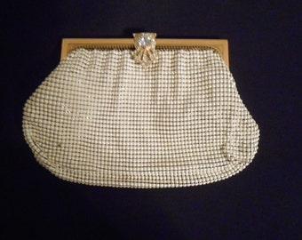 Vintage  Ivory Enamel Metal-Mesh Clutch Purse signed, WHITING and DAVIS