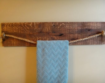Wood Hand Towel Rack Rustic Home Wood And Rope