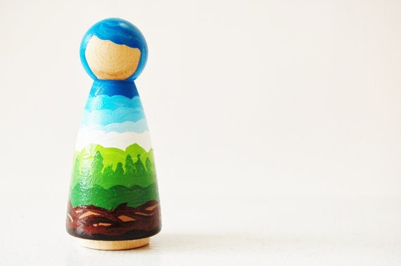 Mother Earth Wooden Doll - Waldorf Nature Table - Peg Doll - Unique Gift - Zooble Toy