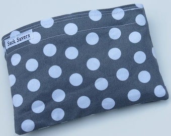 Reusable Eco Friendly Sandwich or Snack Bag Grey Polka Dots