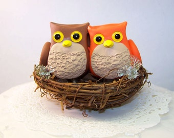 Owl Wedding Cake Topper - Bird Nest Cake Topper - Custom Colors of Choice