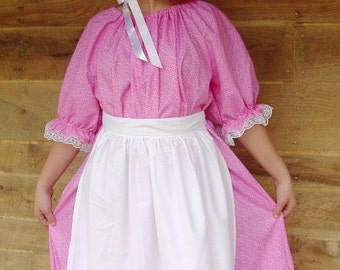 Historical Costumes 1800's Clothing Little House on the Prairie-New Pink Pioneer- Child sizes up to 14