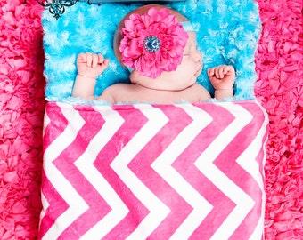 Minky Baby Blanket, Hot Pink & Turquoise Minky Baby Blanket - Rosette - Modern - Baby Shower Gift - Girls - Bedding - Decor - Nursery - Crib