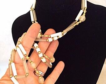 vintage necklace double strand retro plastic jewelry
