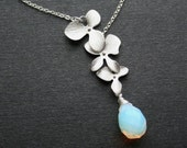 Orchid necklace, Moonstone Opalite necklace, Three orchids, Bridesmaids Necklaces, Weeding Jewelry, Rainbow moonstone, Sterling silver
