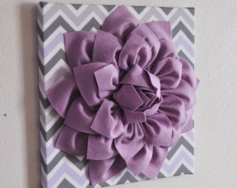 "Baby Nursery Wall Decor -Lilac Dahlia on Lilac and Gray Chevron 12 x12"" Canvas Wall Art- Purple Wall Art"