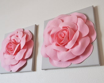Baby Nursery Wall Hangings Light Pink and Gray Wall Flowers 12 x 12 Canvases -SET OF TWO