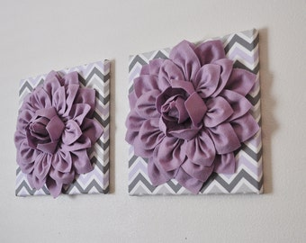 Purple Nursery Wall Decor Lilac Dahlia on Lilac Gray and White Chevron Print 12 x 12 Canvas Wall Art- Baby Nursery Decor Gift