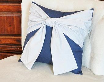 Throw Pillow Gray Bow on Navy Pillow 14x14 -Navy and Gray Pillow- Decorative Pillow-