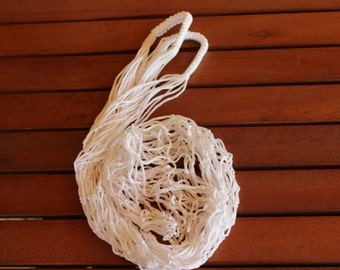 White Farmers  Bag , Handmade Market Bag , Shopping Tote  , White String Bag ,  Classic Market Bag