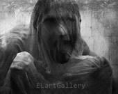 Black Monster, black and white photo, dark art, gloomy day, Gothic, death, ghost, digital print,