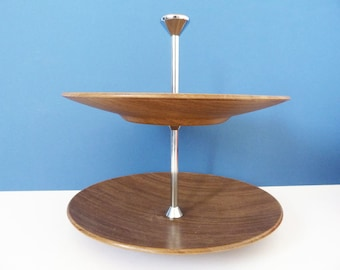 Vintage 1970's faux wooden cake stand