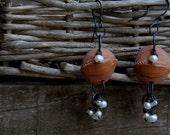 SALE Blossom earrings - red clay and freshwater pearls
