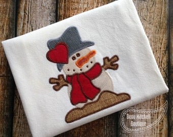 Snowman Heart applique embroidery design