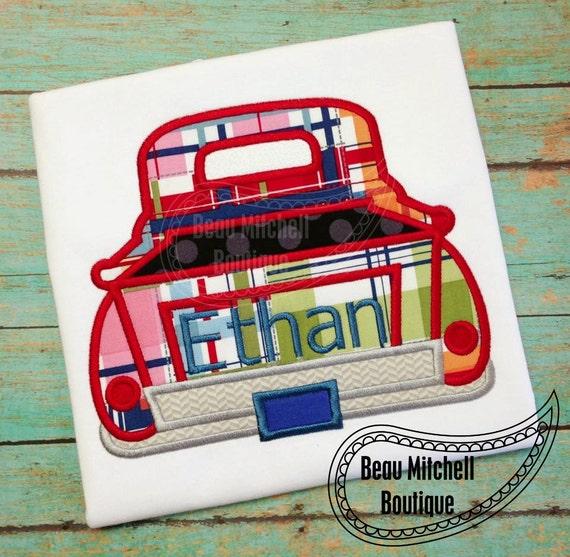 Retro plain truck applique embroidery design