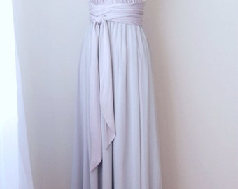 Sample Sale - Convertible/Infinity Dress with Chiffon Overlay in pearl & light grey - Size XS/S