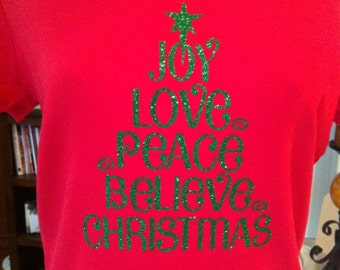 Christmas Tree Words Rhinestone Heat Transfer- DIY