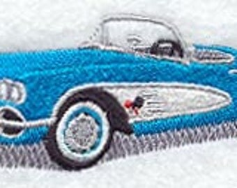 Classic 1960 Corvette Embroidered Cotton Terry Kitchen or Bath Hand Towel
