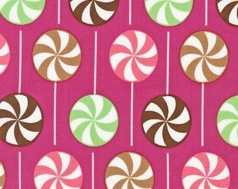 Robert Kaufman Fabric, Lollipop in Strawberry by Anne Kelle, Dessert Party Collection, 1 Yard