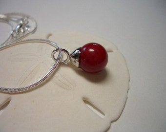 Red Coral pendant, 925 sterling silver, rhodium plated, natural gemstone, on silver plated snake chain necklace, natural coral pendant