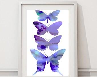 "Butterfly silhouette -Printable Art, butterfly watercolor Digital Printable Wall Art Print 8""x10""  (Jpeg File) INSTANT DOWNLOAD- Purple Blue"