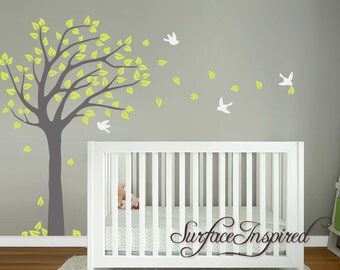 Nursery Tree Wall Decal. Blowing Summer Tree Wall decal With Flying Birds.