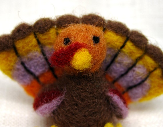 Miniature Turkey Figurine, Needle Felted Wool, Tiny Thanksgiving Decoration, Brown and Earthtone Holiday Bird, Handcrafted Art for Charity