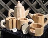 Toy All Wood Tea Set: Pot W/Lid, 2 Tea Cups W/Bags, Creamer & Sugar Bowl   Just Right Size